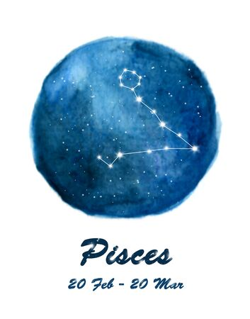 Pisces constellation icon of zodiac sign Pisces in cosmic stars space. Blue starry night sky inside circle background. Galaxy space design for horoscope icon, cards, posters, fortune telling.