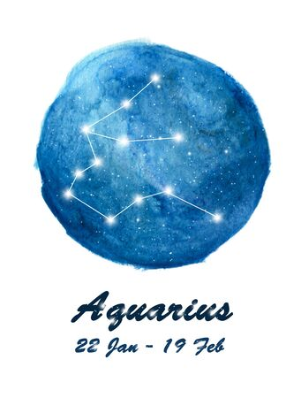 Aquarius constellation icon of zodiac sign Aquarius in cosmic stars space. Blue starry night sky inside circle background. Galaxy space design for horoscope icon, cards, posters, fortune telling. Stock fotó