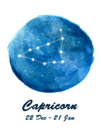 Capricorn constellation icon of zodiac sign Capricorn in cosmic stars space. Blue starry night sky inside circle background. Galaxy space design for horoscope icon, cards, posters, fortune telling.