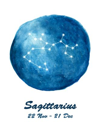 Sagittarius constellation icon of zodiac sign Sagittarius in cosmic stars space. Blue starry night sky inside circle background. Galaxy space design for horoscope icon, cards, posters, fortune telling