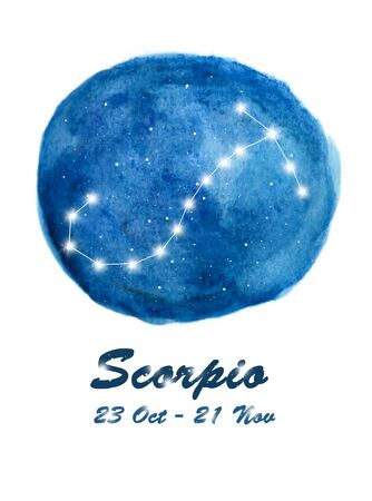 Scorpio constellation icon of zodiac sign Scorpio in cosmic stars space. Blue starry night sky inside circle background. Galaxy space design for horoscope icon, cards, posters, fortune telling Stock fotó