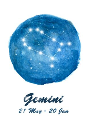Gemini constellation icon of zodiac sign Gemini in cosmic stars space. Blue starry night sky inside circle background. Galaxy space design for horoscope icon, cards, posters, fortune telling Stock fotó