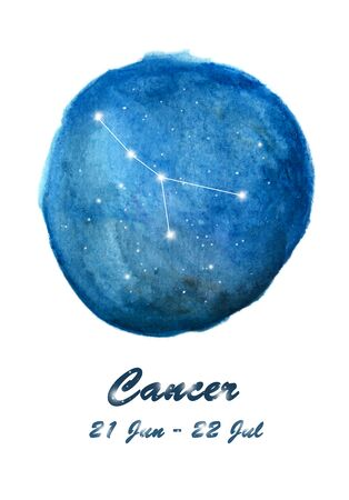 Cancer constellation icon of zodiac sign Cancer in cosmic stars space. Blue starry night sky inside circle background. Galaxy space design for horoscope icon, cards, posters, fortune telling
