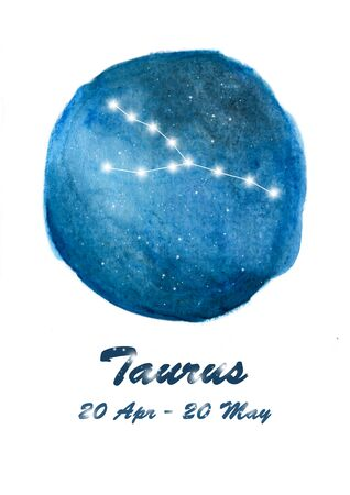 Taurus constellation icon of zodiac sign Taurus in cosmic stars space. Blue starry night sky inside circle background. Galaxy space design for horoscope icon, cards, posters, fortune telling