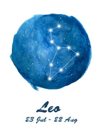 Leo constellation icon of zodiac sign Leo in cosmic stars space. Blue starry night sky inside circle background. Galaxy space design for horoscope icon, cards, posters, fortune telling