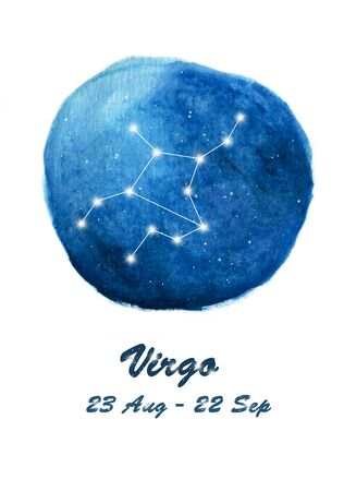 Virgo constellation icon of zodiac sign Virgo in cosmic stars space. Blue starry night sky inside circle background. Galaxy space design for horoscope icon, cards, posters, fortune telling