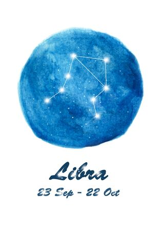 Libra constellation icon of zodiac sign Libra in cosmic stars space. Blue starry night sky inside circle background. Galaxy space design for horoscope icon, cards, posters, fortune telling
