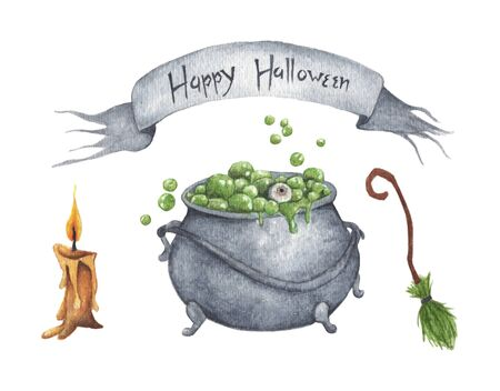Watercolor Halloween set. Hand painted cauldron with potion, broom, candle isolated on white background. Holiday illustration for design.