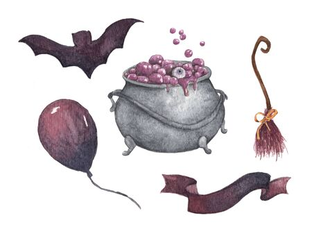 Watercolor Halloween set. Holiday illustration for design. In the picture: witch's cauldron, broom, air balloon, bat, ribbon. Stok Fotoğraf - 131871793