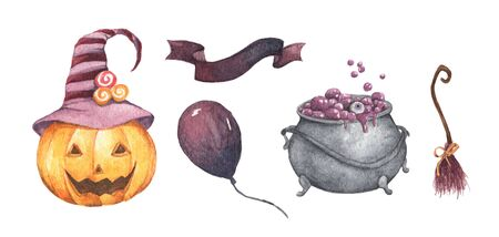 Watercolor Halloween set. Holiday illustration for design. In the picture: pumpkin, witchs cauldron, broom, air balloon, ribbon.