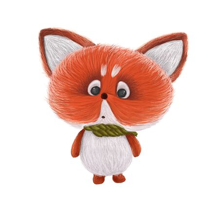 Cute little fox in a scarf isolated on white background. animal painting. Hand drawn illustration.