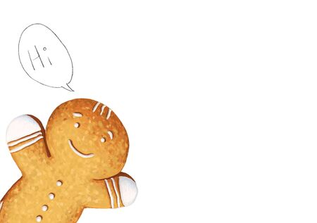 """Hand painted Gingerbread man say """"Hi"""", Holiday cookie in shape of man isolated on white background."""