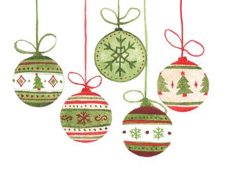 Colorful christmas balls hanging on ribbon. Isolated on white background. Watercolor Christmas card for invitations, greetings, holiday christmas toy for fir tree.