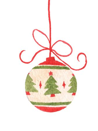 Christmas ball hanging on ribbon isolated on white background. Watercolor Christmas card for invitations, greetings, holidays and decor.