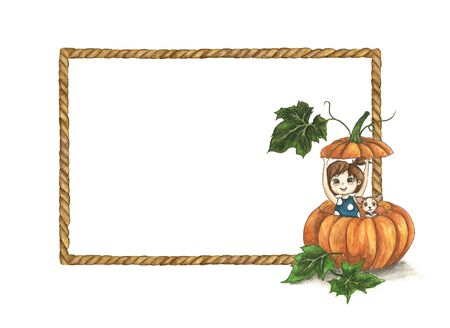 Brown rope frame with cute little girl and her dog in a big pumpkin. watercolor illustration. Foto de archivo - 133486542