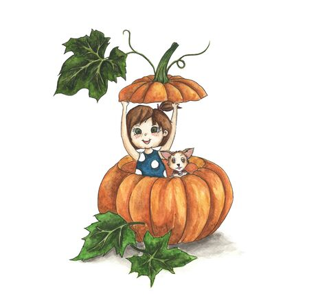 Cute little girl with her dog in a big pumpkin isolated on white background. watercolor illustration. Foto de archivo - 133486543