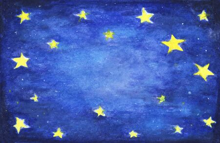 Hand painted watercolor illustration of starry sky. Night sky. Stock Photo