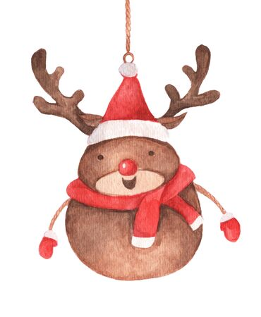 Cute reindeer hanging on string. Isolated on white background. Vintage Christmas decoration. Watercolor Christmas card for invitations, greetings, holidays and decor.