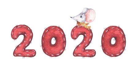 Happy Chinese New Year 2020 with little mouse and sunflower seed. Isolated on white background. Year of the Rat. Chinese zodiac symbol of 2020. Watercolor illustration. Stock Photo