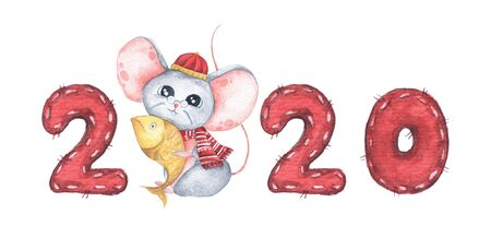 Happy Chinese New Year 2020 with little mouse holding a fish. Isolated on white background. Year of the Rat. Chinese zodiac symbol of 2020. Watercolor illustration. Stock Illustration - 134719707