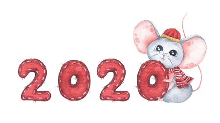 Happy Chinese New Year 2020 with cute mouse. Isolated on white background. Year of the Rat. Chinese zodiac symbol of 2020. Watercolor illustration. Stock Illustration - 134719714