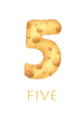 Cheese font 5 number. Symbol isolated on white background. Watercolor illustration.
