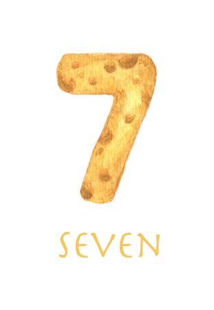 Cheese font 7 number. Symbol isolated on white background. Watercolor illustration.