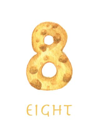 Cheese font 8 number. Symbol isolated on white background. Watercolor illustration. 版權商用圖片