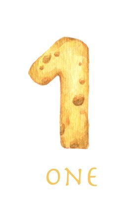Cheese font 1 number. Symbol isolated on white background. Watercolor illustration.