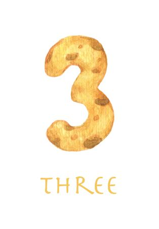 Cheese font 3 number. Symbol isolated on white background. Watercolor illustration.
