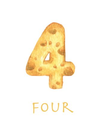 Cheese font 4 number. Symbol isolated on white background. Watercolor illustration.