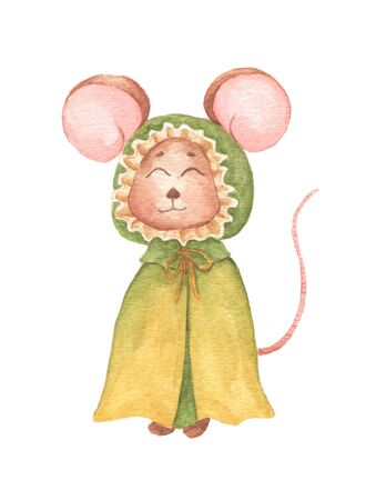 Little mouse in green cloak with hood. Watercolor hand draw illustration isolated on white background. Foto de archivo - 134719763