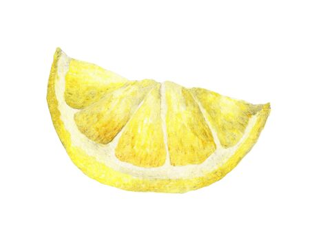 Watercolor lemon slice. Hand drawn illustration, isolated on white background with clipping path. 스톡 콘텐츠