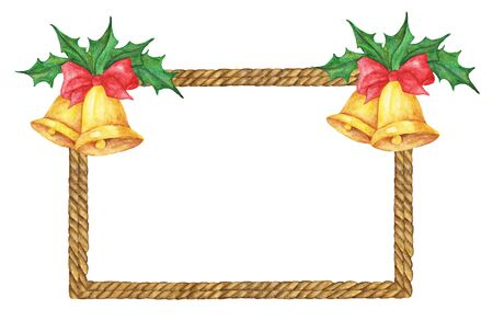 Watercolor painting of Brown Rope frame with Golden christmas bells, red ribbon and holly on white background Stock Photo