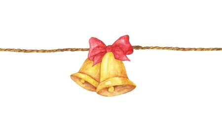Watercolor painting of Golden bell with red ribbon on a rope isolated on white background. 스톡 콘텐츠