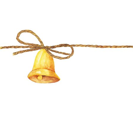 Watercolor painting of Golden bell on a rope isolated on white background.