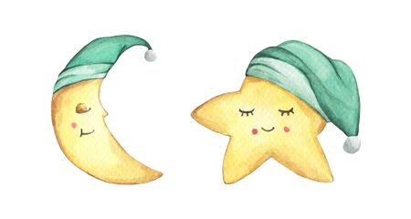 Sleepy half moon and little star in green nightcap. Isolated on white background. Hand drawn watercolor illustration.