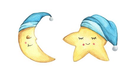 Sleepy half moon and little star in blue nightcap. Isolated on white background. Hand drawn watercolor illustration. Banco de Imagens