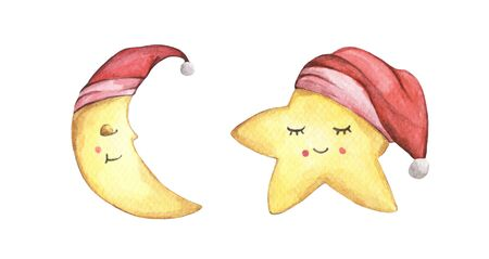 Sleepy half moon and little star in red nightcap. Isolated on white background. Hand drawn watercolor illustration. Christmas card.