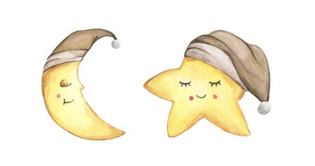 Sleepy half moon and little star in brown nightcap. Isolated on white background. Hand drawn watercolor illustration. Banco de Imagens