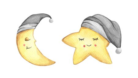 Sleepy half moon and little star in gray nightcap. Isolated on white background. Hand drawn watercolor illustration. Banco de Imagens