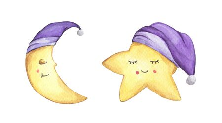 Sleepy half moon and little star in purple nightcap. Isolated on white background. Hand drawn watercolor illustration.