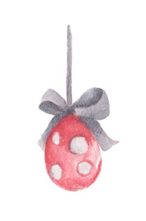 Easter Egg hanging on ribbon with bow. Isolated on white background. Watercolor illustration.