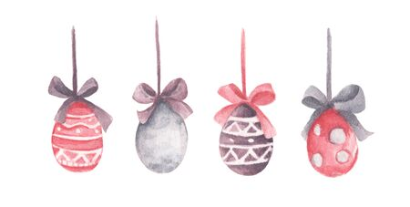 Colored Easter Eggs hanging on ribbons with bows. Isolated on white background. Watercolor illustration.