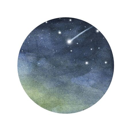 Watercolor night sky in circle isolated on white background. Falling meteorite, comet in the starry space sky.