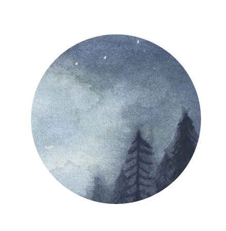 Peaceful spruce forest under night sky in circle isolated on white background. Watercolor illustration.