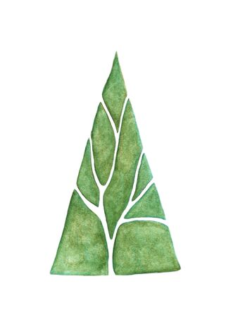 Abstract green tree isolated on white background, watercolor illustration.