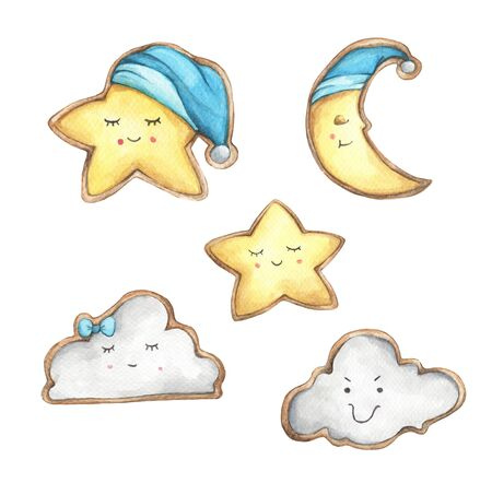Set of Smile face cookies in the shape of star, crescent and cloud. Isolated on white background. Hand drawn watercolor delicious cookies. Food illustration.