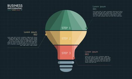 Light bulb infographic. Modern design minimal style. Can be used for infographics. Teamwork concept design. Vettoriali
