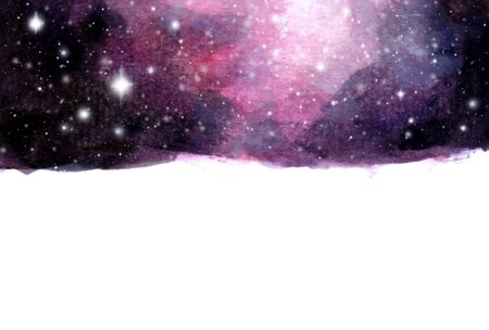 Watercolor galaxy sky background with stars. cosmic layout with space for text.